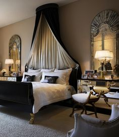 Bedroom, Canopy bed: Stunning, dramatic bedroom. Just gorgeous!