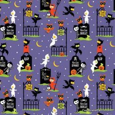 Fabric... Costume Clubhouse Graveyard on Purple by Sheri Berry