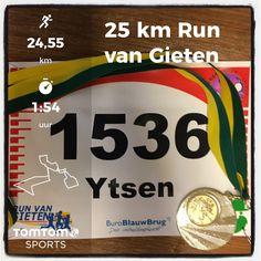 Open Noordelijk Kampioenschap! Run van Gieten in Gieten. 25 km in 1:54:11 (8e).