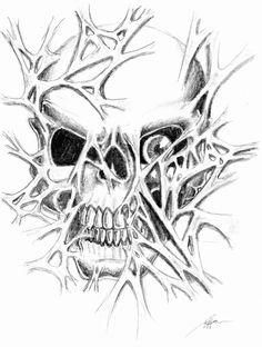 Evil Skull Rippin Tattoo art | Skull Ripping Through Flesh by BrandonHenning