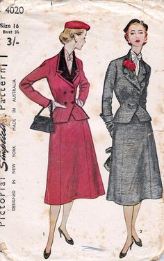 Late era 1940s to early 50s wool suit jacket skirt black tweed red velvet wasp waist double breasted full gored skirt Vintage Sewing Pattern Double by allthepreciousthings,