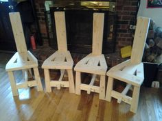 A set of irish Tuam chairs.  They peg together using tusk tenons, so they can be disassembled.  Great for reenactors!