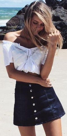 #summer #musthave #outfits |White OTS Top + Denim Button Skirt
