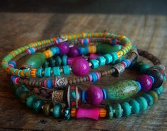 Tibetan Prayer Beads Shell Turquoise and African by yuccabloom