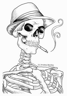 Andrea Benitez Art: Detailed Line Art- Mobster - drawings_pintous Skeleton Drawings, Halloween Drawings, Outline Drawings, Art Drawings, Tattoo Drawings, Skull Coloring Pages, Coloring Books, Smoke Drawing, Magical Pictures
