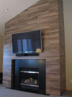 Trendy Ideas for faux wood tile floor fireplace surrounds Fireplace Tile Surround, Shiplap Fireplace, Small Fireplace, Farmhouse Fireplace, Fireplace Hearth, Fireplace Remodel, Fireplace Inserts, Modern Fireplace, Fireplace Surrounds