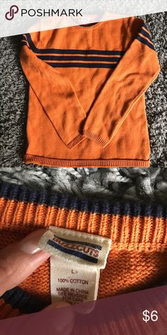 Orange boys sweater Orange sweater with navy blue stripes. Good condition. No stains or tears. buzzcuts Shirts & Tops Sweaters