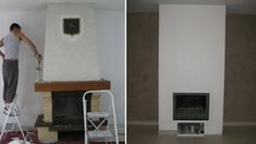 installer caisson autour cheminee Miamse install box around Miamse fireplace Brick Fireplace, House Design, House, New Homes, Renovation Architecture, Cheap Renovations, Open Kitchen And Living Room, Renovations, Fireplace