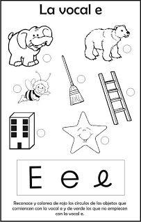 RECURSOS EDUCATIVOS PARA PREESCOLAR: abril 2012 Vocal E, Snoopy, Spanish, Note Cards, Preschool, Learning, Second Best, Reading, Sons