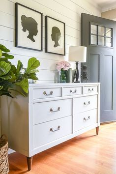 Vintage Decor Ideas A beautiful distressed vintage dresser painted in a soft pale gray and accented with original hardware and dark wood stain. Vintage Dresser Makeover, Decor, Furniture Makeover, Dresser Decor, Light Wood Dresser, Furniture, Vintage Home Decor, Home Decor, Grey Painted Dresser