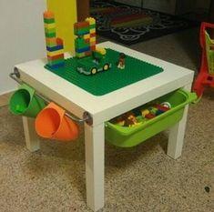 Lego Table Ikea, Lego Table With Storage, Ikea Toy Storage, Ikea Lack Table, Art Storage, Lego Duplo Table, Lack Table Hack, Ikea Lack Hack, Record Storage
