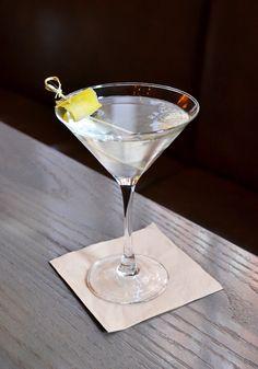 The Elitist - made with Nolet's Gin, Stoli Elit Vodka, Lillet Blanc and Lemon Twist