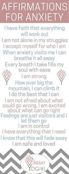 Affirmations for anxiety   #mindful #mindfulness #anxiety #anxious #anxietytips #happy #happiness #motivation #lifetips #mindfulnesstips #positivelife #positivity #positivemind   VIBRANTYOGINI.com #anxietyrelief