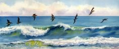 Riding the Crest pelicans just above an ocean wave, by artist Mary Ellen Golden, from Etsy