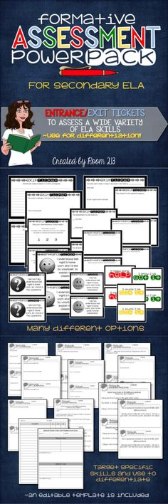 FORMATIVE ASSESSMENT: Use formative assessment to guide your teaching.  These exit and entrance tickets give you a quick snapshot of your students' learning, so you can meet them where they are.