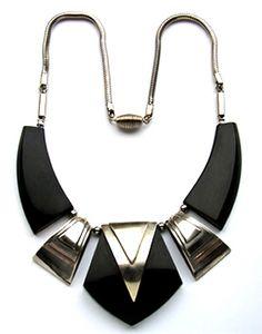 An Art Deco black galalith & chrome necklace, Jakob Bengel, ca 1930.