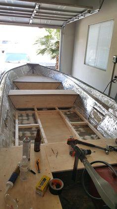Remodeling a Aluminum Fishing Boat Aluminum Fishing Boats, Small Fishing Boats, Aluminum Boat, Boat Projects, Diy Wood Projects, Boat Carpet, John Boats, Tiny Boat, Boat Restoration