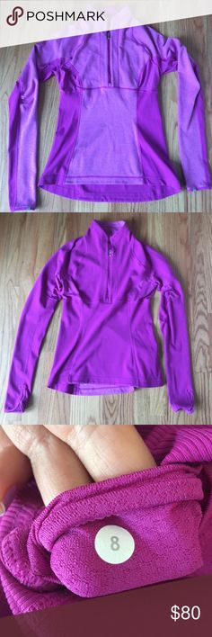 Magenta Lululemon Running Pullover Lightly worn, great condition. Reversible running top for layering. Has reflectors, thumb holes and key/money/card pocket. lululemon athletica Tops Sweatshirts & Hoodies