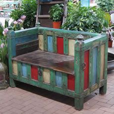 Funky, vintage Indian bench, with storage.