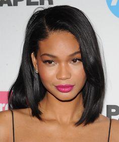 Chanel Iman Hairstyle - Medium Straight Casual - Black