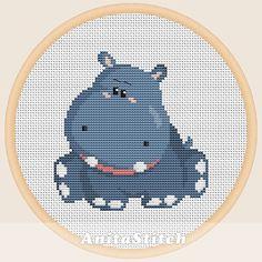 Hippo Cross stitch pattern от AnitaStitch на Etsy