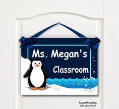 teachers personalized gift  classroom door or wall plaque - penguin theme  by kasefazem, $16.99