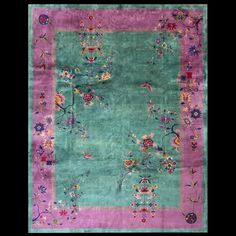 Antique Chinese - Art Deco Rug - 22266 | Chinese 8' 10'' x 11' 6'' | Green, Origin China, Circa: 1920