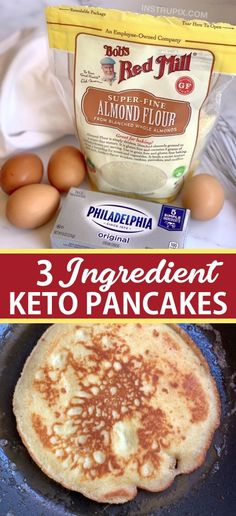 The BEST 3 Ingredient Keto Pancakes (made with almond flour, cream cheese & eggs). - Looking for easy healthy keto breakfast ideas? These quick and easy 3 ingredient keto pancakes are - Ketogenic Recipes, Low Carb Recipes, Ketogenic Diet, Healthy Recipes, Crockpot Recipes, Easy Recipes, Leptin Diet, Easy Diabetic Meals, Crepe Recipes