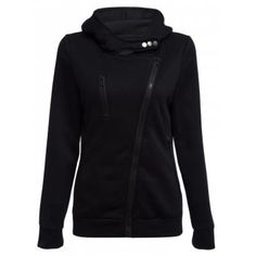 Casual Turn-down Collar Zipper Button Design Women Hoodie - BLACK XL