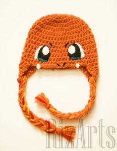 Charmander Crochet Hat | Crochet Charmander Costume Hat | Pokemon Winter Beanie