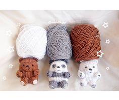 Amigurumi Grizzly, Panda, and Ice Bear Created by Crochette Pop Crochet Geek, Cute Crochet, Crochet Crafts, Crochet Dolls, Knit Crochet, Felt Patterns, Amigurumi Patterns, Sewing Patterns, Crochet Patterns