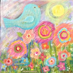 SOLD Sweet Bird Original Acrylic Painting on 10x10 by giftsofcreation, $40.00