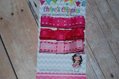 Pink Tuxedo Bows  set of 3 Clippies  Pink Hair by ChloesClippies