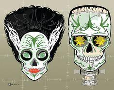 Frankenstein Couple Sugar Skulls Print 11x14 print by MYantz