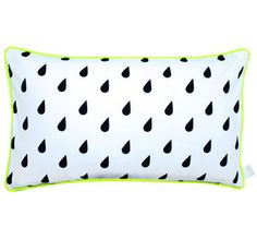 Monochrome Raindrops Cushion With Neon Yellow Piping