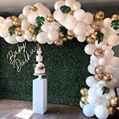 Balloon Garland Arch Kit, White Gold Confetti Balloons 101 PCS, Artificial Palm Leaves 6 PCS, Balloons for Parties, Party Wedding Birthday Balloons Decorations Shower Party, Baby Shower Parties, Baby Shower Themes, Baby Shower Decorations, Wedding Decorations, White Party Decorations, Baby Shower Balloon Ideas, Decor Wedding, Shower Centerpieces