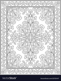 Template for carpet Royalty Free Vector Image - VectorStock Stencil Patterns, Stencil Designs, Paint Designs, Designs To Draw, Pattern Drawing, Pattern Art, Coloring Books, Coloring Pages, Kerala Mural Painting