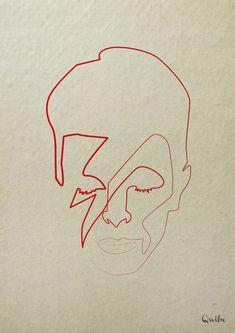 David Bowie (Aladdin Sane) One Line Art by Quibe (Christophe Louis)