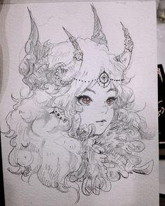 young princess with adorned horns Anime Drawings Sketches, Anime Sketch, Cute Drawings, Inspiration Art, Art Inspo, Anime Art Girl, Manga Art, Pretty Art, Cute Art