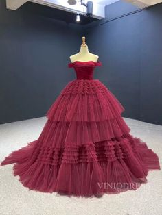 Pale Mauve Tulle Quinceanera Dresses Off the Shoulder Sweet 16 Dress F – Viniodress