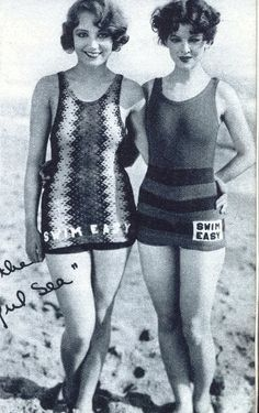 """I guess that's what bathing suits looked like in the 1920's, early 1930's.  2 pretty ladies:  Leila Hyams & Myrna Loy.  Loy went on to become an actress most recognized for """"The Thin Man"""" series..."""