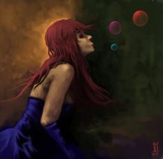 Woman and bubbles