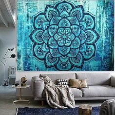 Indian Hippie Tapestry Mandala Wall Hanging Blue Lotus Bohemian Decor Psychedelic Intricate Floral Flower Wall Decor Beach Throw Bedspread Tapestries for Bedroom x 59 inch, Turquoise Flower) Indian Tapestry, Boho Tapestry, Mandala Tapestry, Tapestry Wall Hanging, Hippie Tapestries, Beach Wall Decor, Flower Wall Decor, Tapestries For Guys, Elephant Tapestry