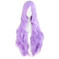 "MapofBeauty 32"" 80cm Light Purple Long Hair Curly Wavy Wig Cosplay... ($11) ❤ liked on Polyvore featuring beauty products, haircare, hair styling tools, hair, wig and curly hair care"