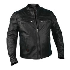 Hot Leathers Mens Leather Jacket with Double Piping