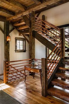 rustic staircase design copper wood