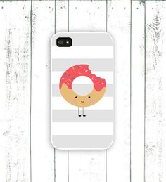 Donut iPhone Case Grey Striped Case Pink Donut by MooseberryCases