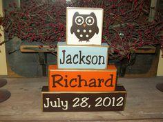 Boys Personalized Names Four Piece Primitive Owl Sign Blocks Nursery