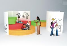 Risers would be used during circle time and lessons that do not require students to be at a desk.  It would make it easier for everyone to see.  White boards could be used by both students and teachers.  http://www.learningspaces.co.uk/blog/classroom-furniture/