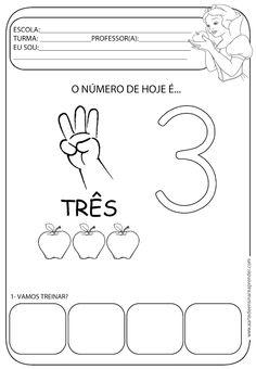 Atividade pronta - Numeral 3 Tracing Worksheets, Preschool Worksheets, School Frame, Numbers Preschool, Step Kids, Student Motivation, Toddler Learning, Kindergarten Math, School Days